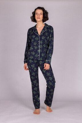 Hays Kadın Lacivert  Pamuklu Uzun Pijama Takımı