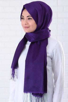 Armine Kadın Mor Düz Renkli Şal Sal01