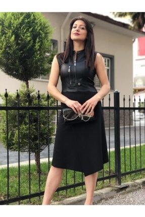 Ayhan Kadın Siyah Deri Parçalı Kolsuz Elbise