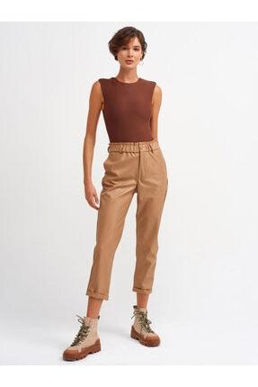 Dilvin Kadın Camel Beli Lastikli Duble Paça Pantolon