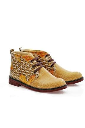 Goby Kadın Kahverengi Baskılı Hasır Desenli Ayakkabı