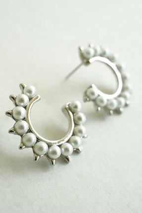 Marjin Kadın Gümüş İnci Taşlı Tasarım Halka Küpe