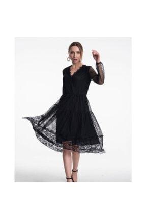 Kadın Siyah Dantelli Şifon Elbise Dantelli Siyah Şifon Elbise