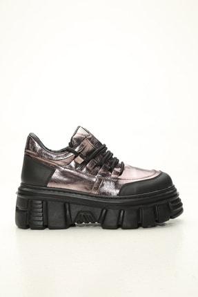 Ayakkabı Modası Kadın Siyah Bakır Yüksek Taban Casual Ayakkabı