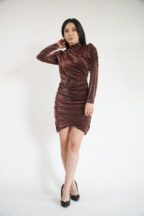 Lila Rose Kadın Bronz Simli Drapeli Mini Elbise