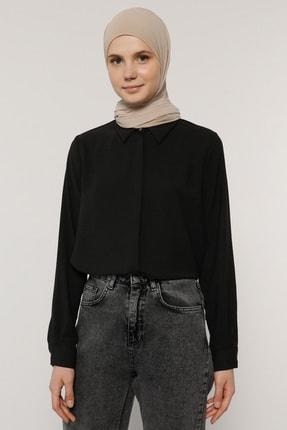 Benin Kadın Siyah Sade Gömlek 1722923