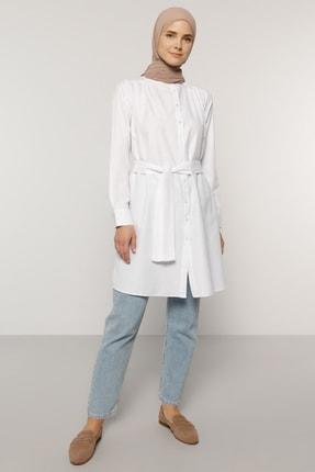 Everyday Basic Kadın Beyaz Kuşak Detaylı Düğmeli Tunik 1745274