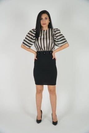 Lila Rose Kadın Siyah Bej Saten Çizgili Mini Elbise