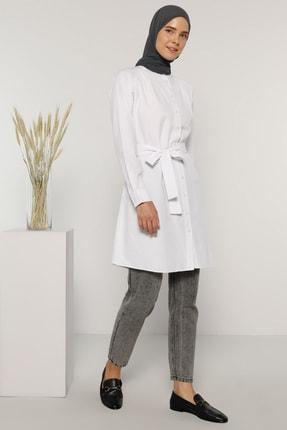 Everyday Basic Kadın Beyaz Kuşak Detaylı Düğmeli Tunik 1163249