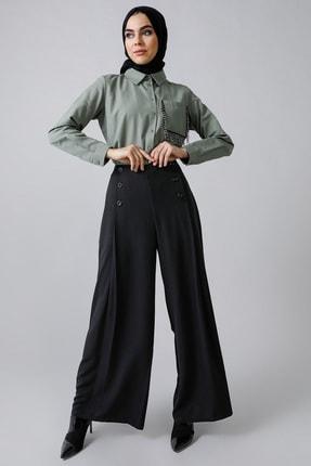Refka Kadın Haki Doğal Kumaşlı Cebi Boncuk Detaylı Tunik 1157038