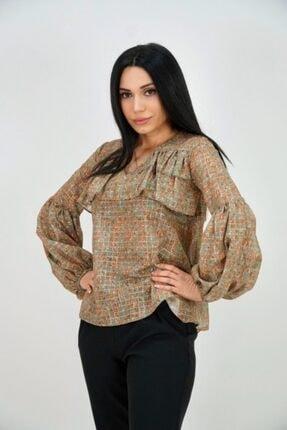 Lila Rose Kadın Haki Şifon Çiçek Desen Bluz