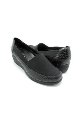 Delta Kadın Siyah  Deri Rahat Ayakkabı