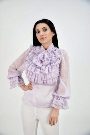 Lila Rose Kadın Lila Yakası Fırfırlı Şifon Bluz