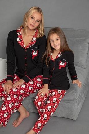 Elitol Kadın Siyah Pamuklu Likrali Düğmeli Pijama Takim
