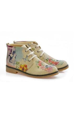 Goby Unisex Kahverengi Kuru Kafa Desenli Ayakkabı