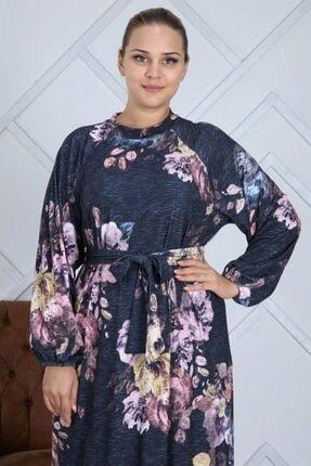 Seamoda Kadın Lacivert Çiçek Desen Eteği Fırfırlı Kemerli Büyük Beden Elbise