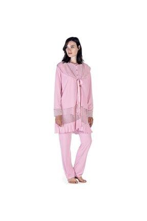 Artış Kadın Pudra 3lü Sabahlık Pijama Takımı 5303