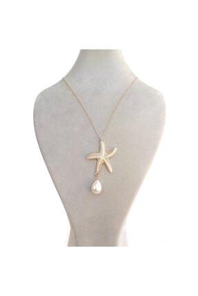 Altın Sarı Beyaz Deniz Yıldızı Figürlü Inci Boncuklu Altın Sarı Renk Zincir Kadın Kolye Chbko141 CHBKO141