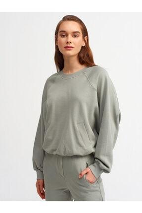 Dilvin Kadın Çağla Cep Detay Oversize Sweatshirt 3590