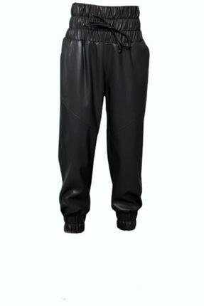 Bsl Kadın Siyah Kemer Lastik Detaylı Suni Deri Pantolon