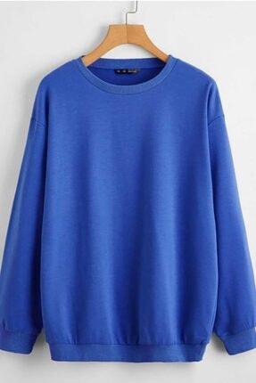 Madmext Kadın Saks Basic Sweatshirt Mg806