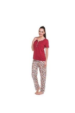 Çift Kaplan Kadın Bordo Pijama Takımı 7859