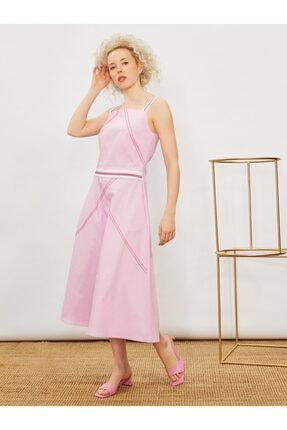 Vekem Kadın Pembe Askılı Nakışlı Elbise