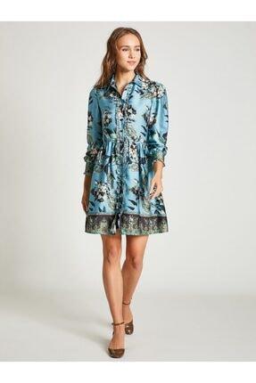 Vekem Kadın Mavi Gömlek Yaka Çiçek Desenli Elbise
