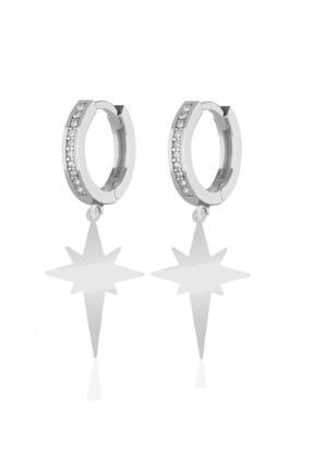Azuris Silver 925 Ayar Gümüş Taşlı Klips Kutup Yıldızı Küpe Dsrcha2089
