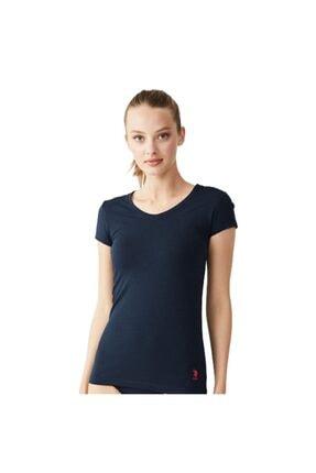 ESTİVA Kadın Lacivert V Yaka T-shirt 66004
