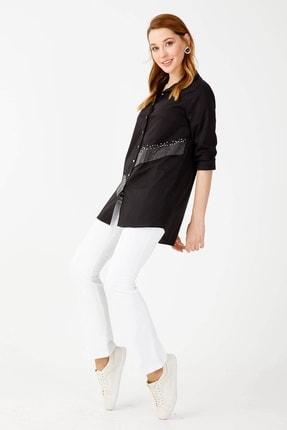 Moda İlgi Kadın Siyah Taşlı Koton Gömlek