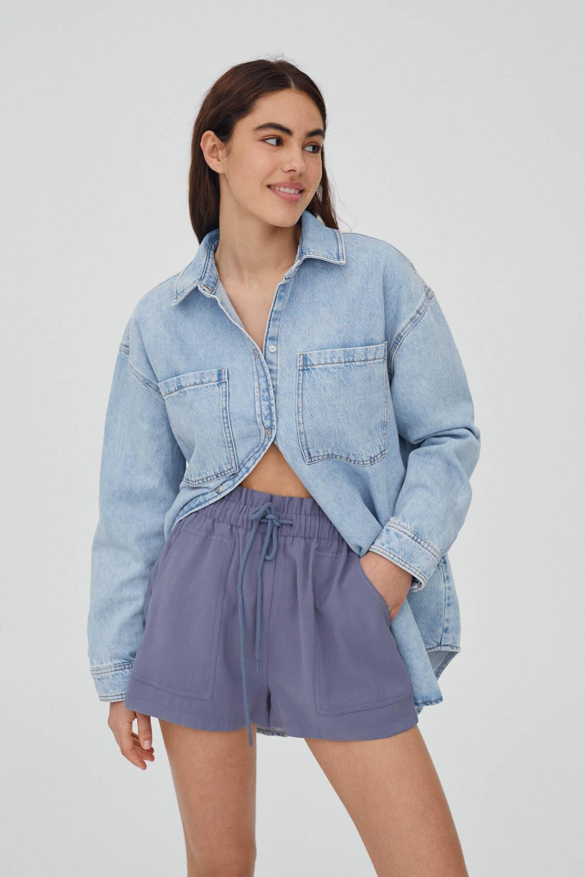 Pull & Bear Kadın Mavi Geniş Elastik Belli Basic Bermuda