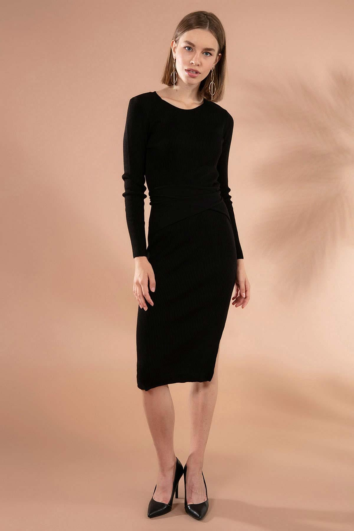 Y-London Kadın Siyah Fitilli Kuşak Detaylı Yırtmaçlı Triko Elbise Y20W106-0562