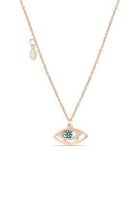 Herisson Kadın 925 Ayar Gümüş Zirkon Beyaz Mavi Taşlı Göz Kolye Hnzrk1323
