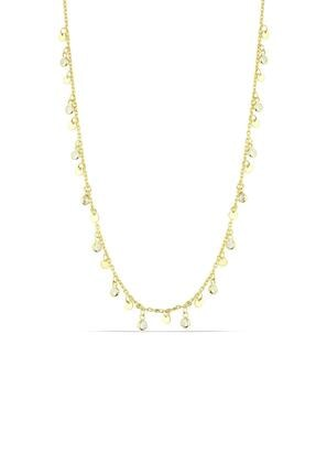 Herisson Kadın 925 Ayar Gümüş Zirkon Beyaz Taşlı Sıralı Tek Taş Kolye Hnzrk1424