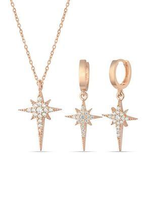 Herisson Kadın 925 Ayar Gümüş Zirkon Beyaz Taşlı Kutup Yıldızı Set Hnzrs1438