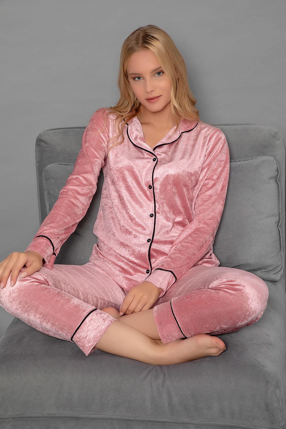 Elitol Kadın Pembe Düğmeli Kadife Pijama Takım