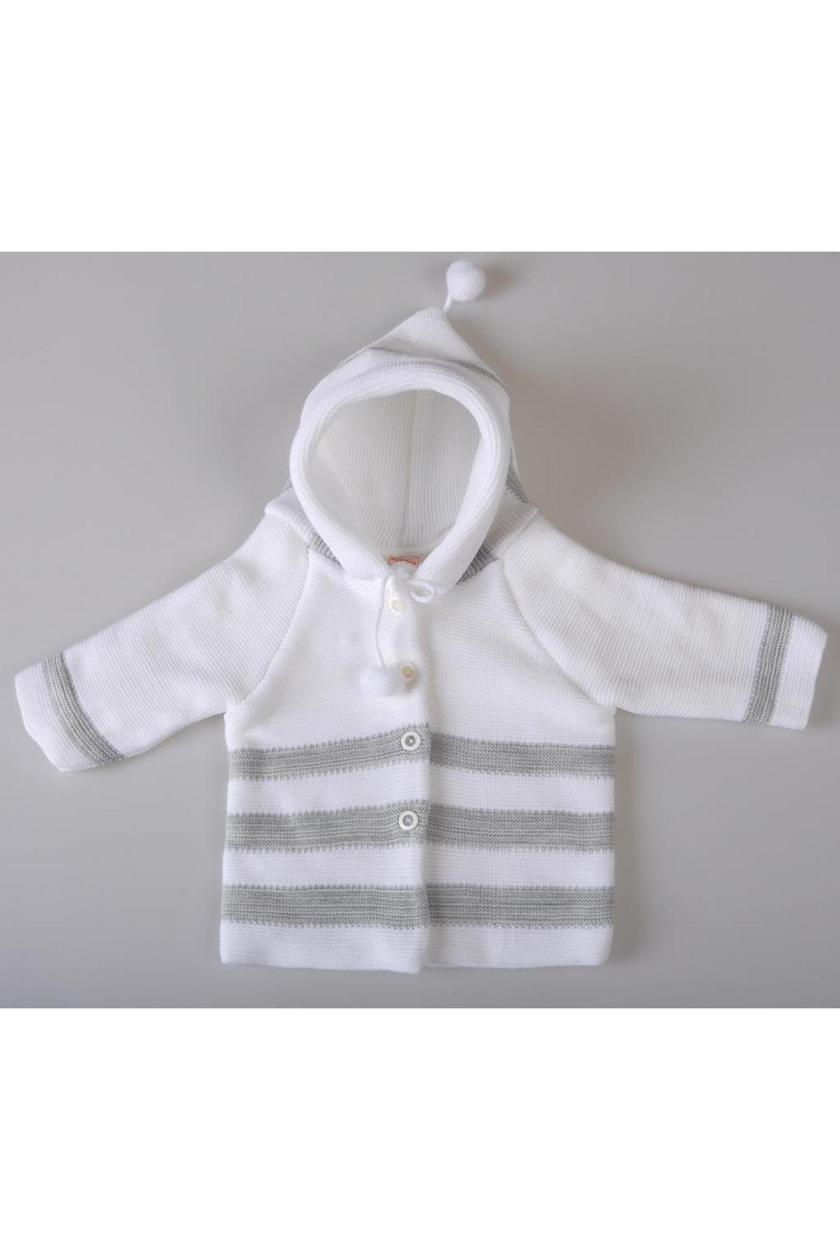 POKY BEBE Kız Erkek Bebek Kapüşonlu Uzun Kollu Ponponlu Kışlık Hırka 0-6 Ay-0112