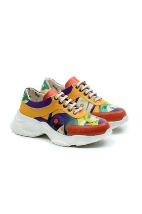 Goby Unisex Renkli Özel Tasarım Popart Desenli Spor Ayakkabı