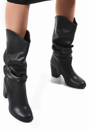 Sapin Kadın Siyah  Topuklu Körüklü Uzun Bot 33610