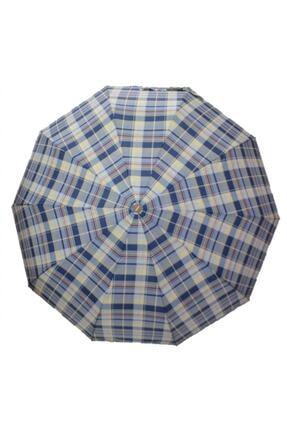 Almera Yarı Otomatik, 10 Telli, Rüzgara Dayanıklı, Kadın Şemsiye, Ekose Desen-8