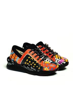 Goby Kadın Siyah Özel Tasarım Baskılı Popart Desenli Spor Ayakkabı
