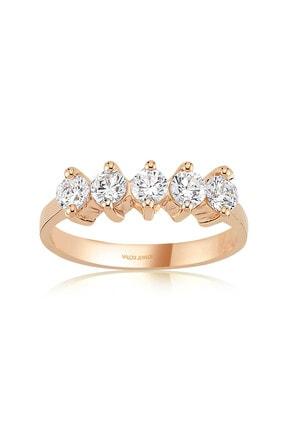 Valori Jewels Iki Tırnak Montür, 0.80 Karat Zirkon Taşlı, Rose Gümüş Beştaş Yüzük