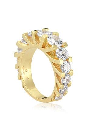 Valori Jewels 5 Karat Süzme Zirkon Beyaz Taşlı, Tasarım Altın Rengi Gümüş Yarımtur Yüzük