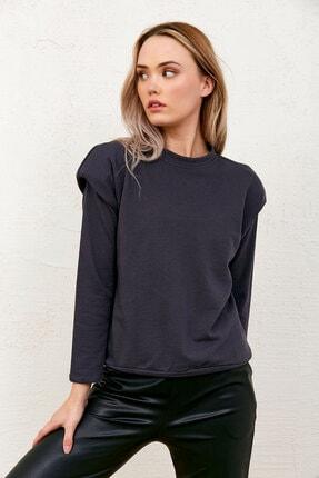 Eka Kadın Antrasit Üç Iplik Omuzları Detaylı Vatkalı Sweatshirt
