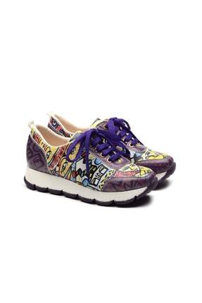 Goby Kadın Mor Desenli Spor Ayakkabı