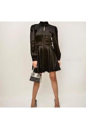 Bsl Kadın Siyah Sırt Dekolteli Saten Elbise