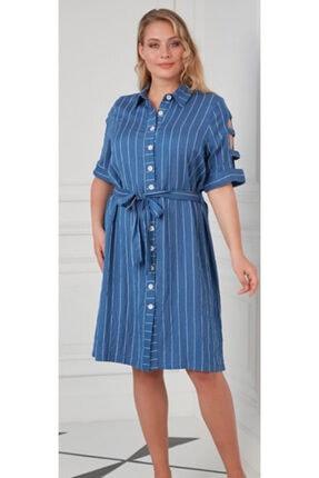 Rmg Kol Detaylı Büyük Beden Indigo Elbise