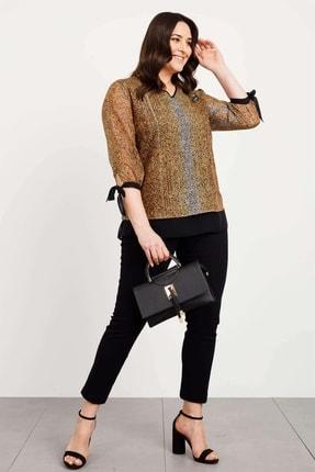Moda İlgi Kadın V Yaka Empirme Gömlek Safran