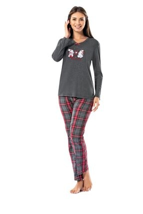 ERDEM Kadın Kışlık Uzun Kol Pijama Takım 8602